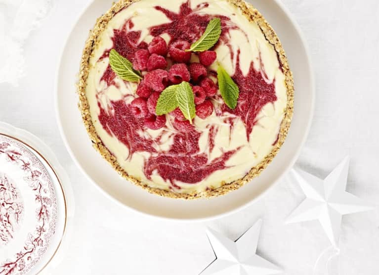Raspberry-Mint Cheesecake (No Sugar Added)