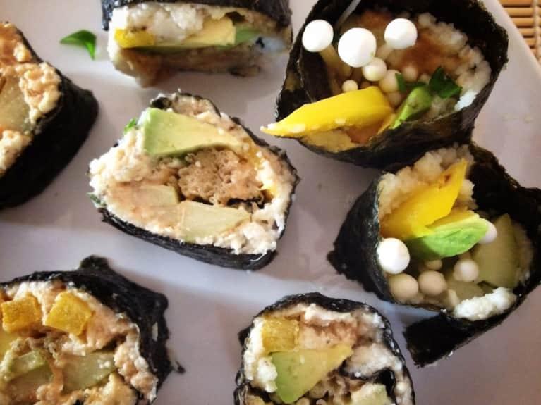 Raw Avocado & Enoki Sushi Rolls