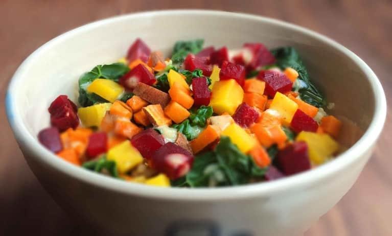 Roasted Beet, Sweet Potato & Kale Salad With Horseradish Dressing