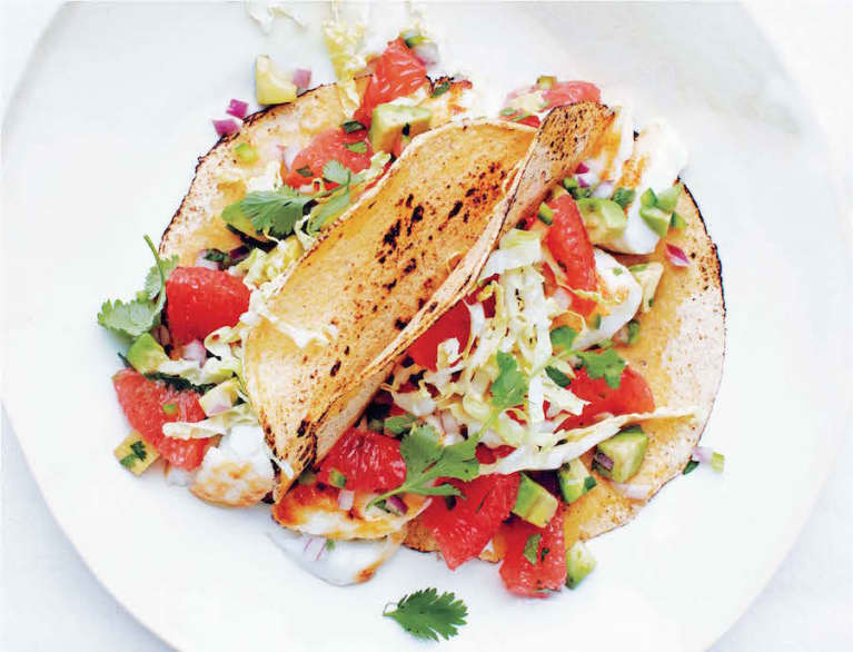 Seared Halibut Tacos With Grapefruit-Avocado Salsa
