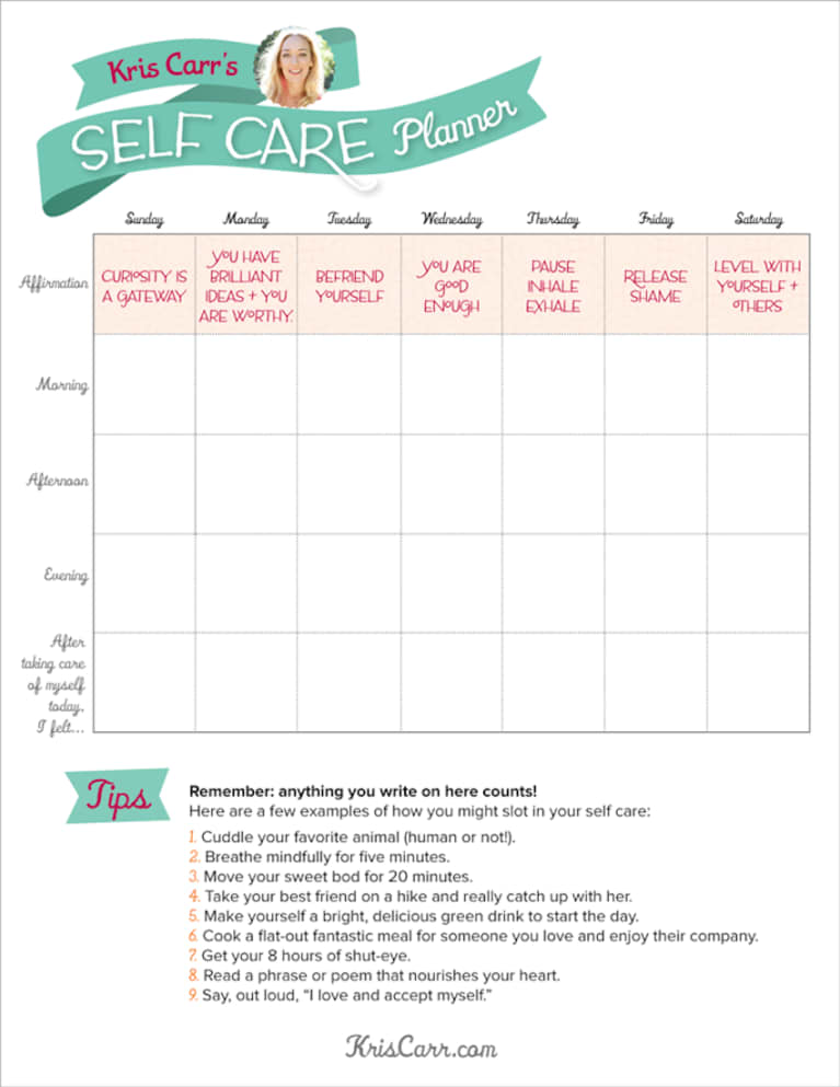 A Self-Care Planner To Get You Through The Week (Infographic)
