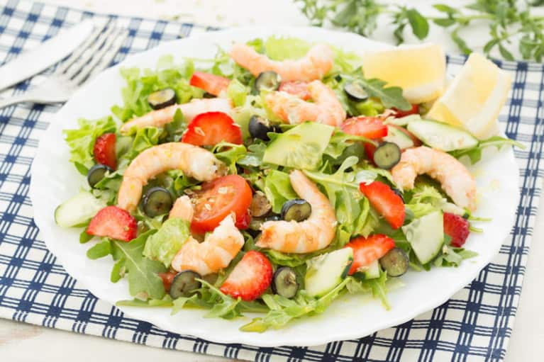Perfect Summer Salad: Shrimp & Strawberry Salad With Walnut Vinaigrette