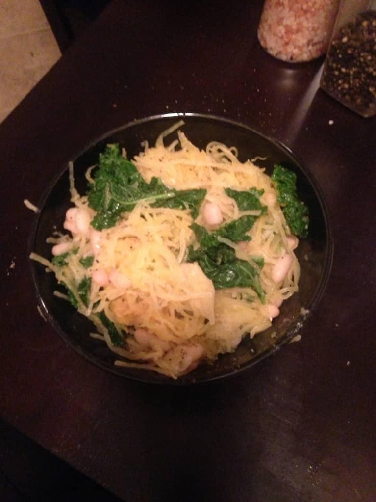 Spaghetti Squash With Kale & Cannellini Beans