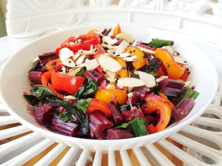 Sriracha Beet Greens & Mini Peppers Salad
