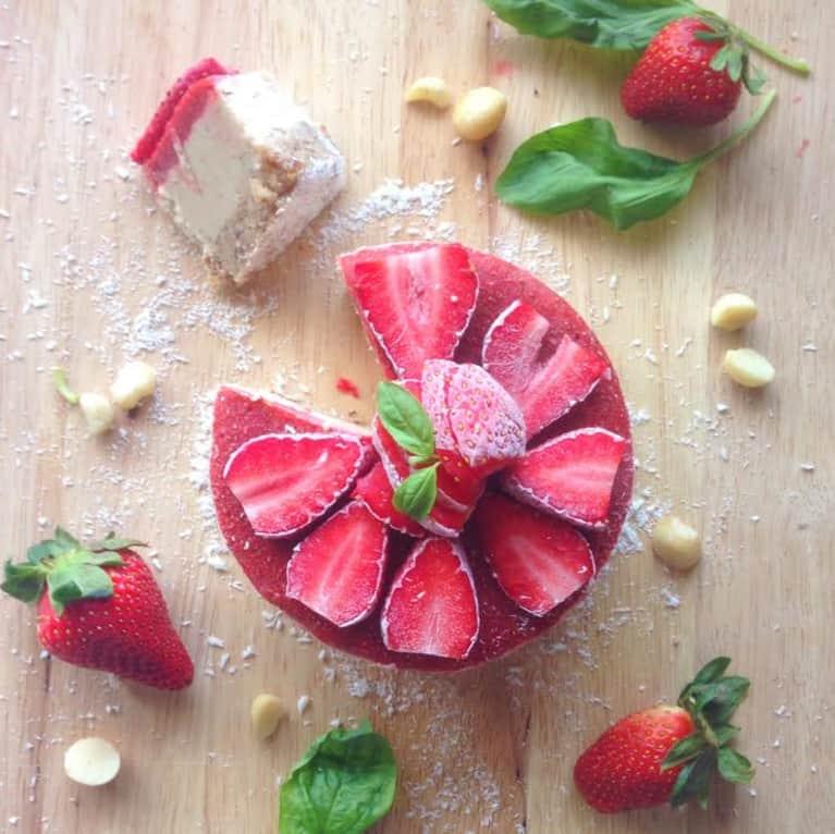 Decadent Vegan Cheesecake With Strawberry-Basil Sauce