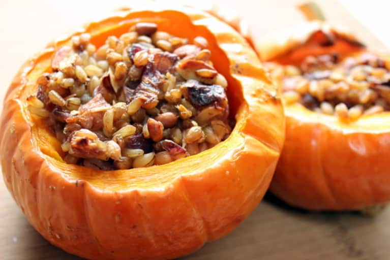 Vegan Stuffed Squash With Dates & Pine Nuts