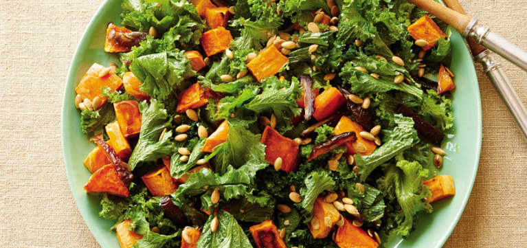 Kale & Maple-Roasted Sweet Potato Salad With Walnut Vinaigrette