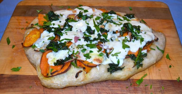 Autumn Pizza With Roasted Sweet Potatoes, Kale & Mozzarella