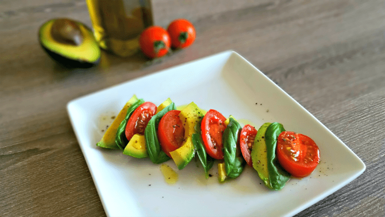 Super Simple Salad Recipe: Tomato + Avocado Caprese