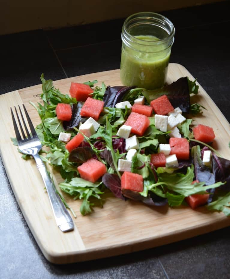 Watermelon, Mint & Feta Salad With Green Goddess Dressing