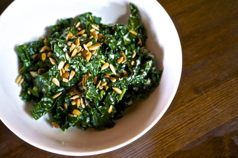 Wilted Kale With Horseradish Yogurt Sauce