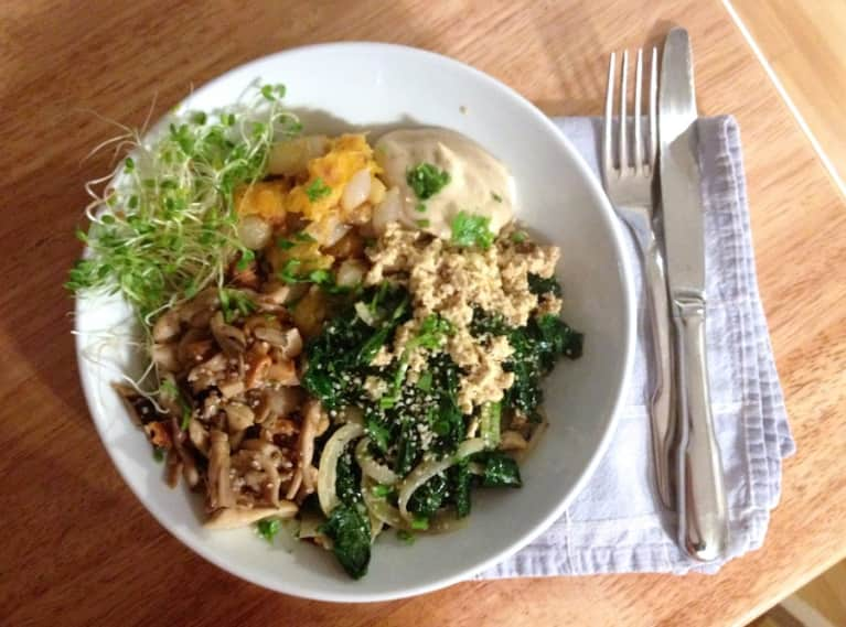 Winter Wellness Bowl (With Kale, Mushrooms, Squash, & Maple Tahini)