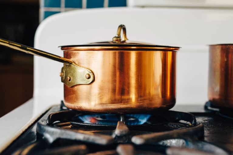 Copper Pot on a Gas Stove