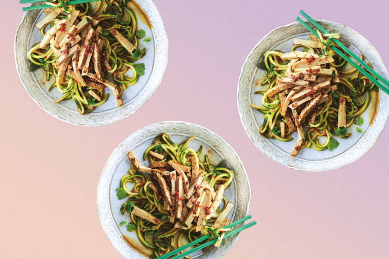 This Vegan Tofu Recipe With Hot & Sour Zoodles Is Quick, Low-Carb & Tasty