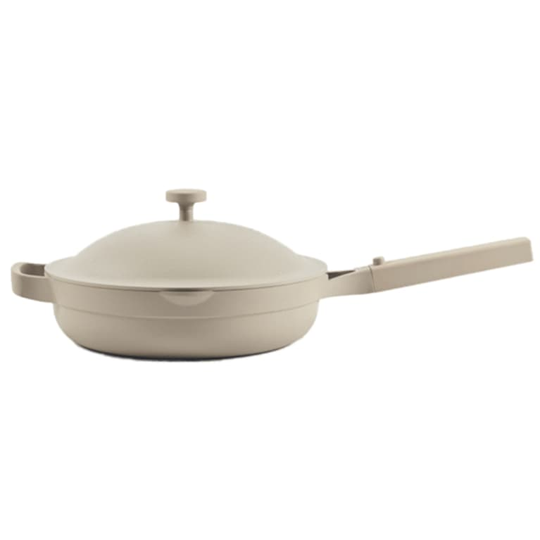 gray pan with ceramic lid