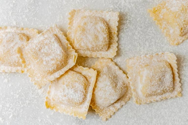 Fresh Homemade Ravioli Covered in Flour