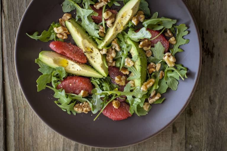 Liver-Cleansing Arugula + Avocado Salad With Citrus Flax Vinaigrette
