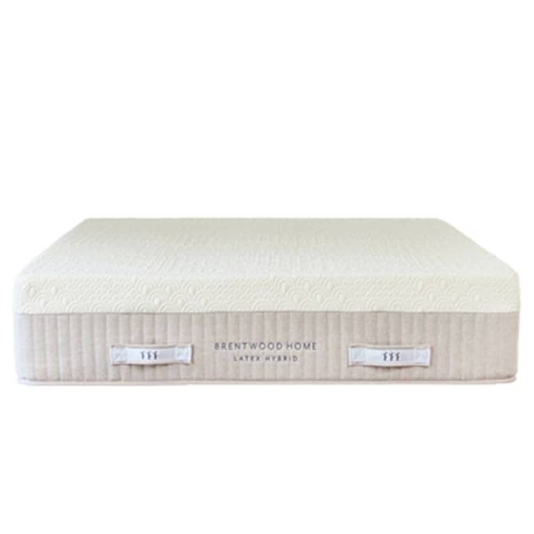 white mattress with brentwood home label