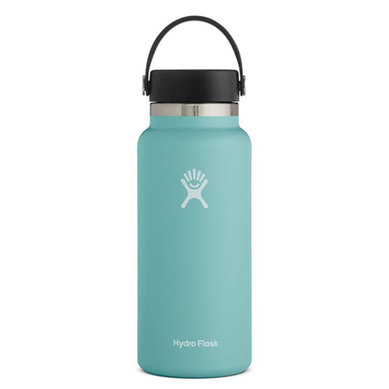 teal water bottle with black lid