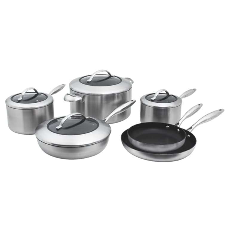 steel and non-stick 10-piece cookware set with lids