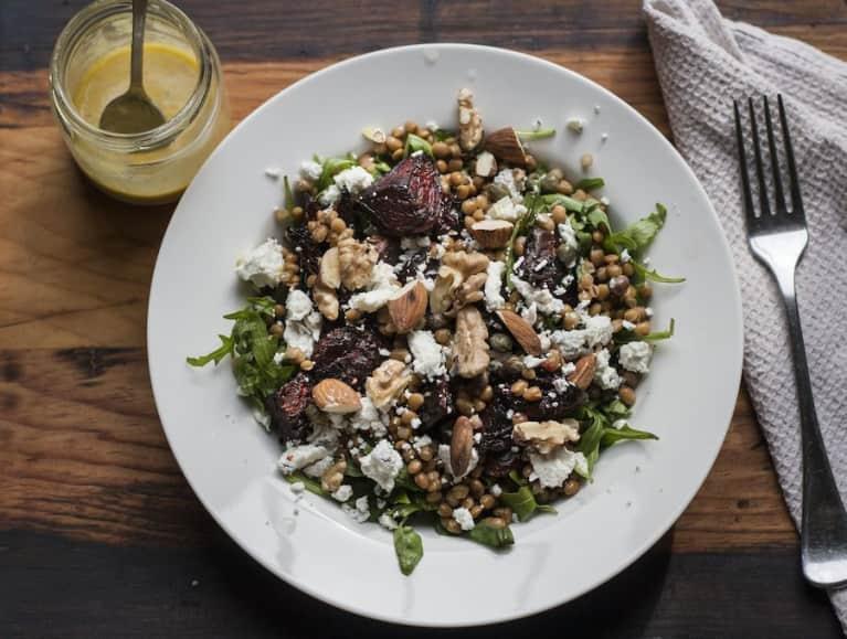 Easy, Healthy Desk Lunch: Beet + Lentil Salad