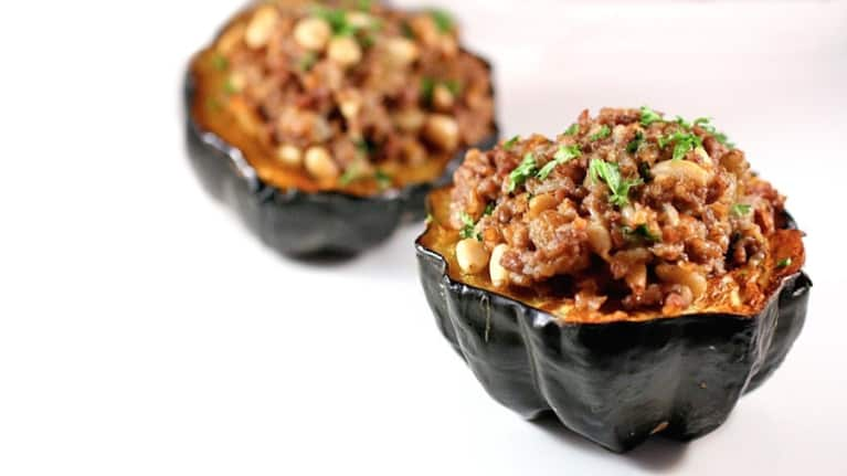 Bison Chili In An Acorn Squash Bowl