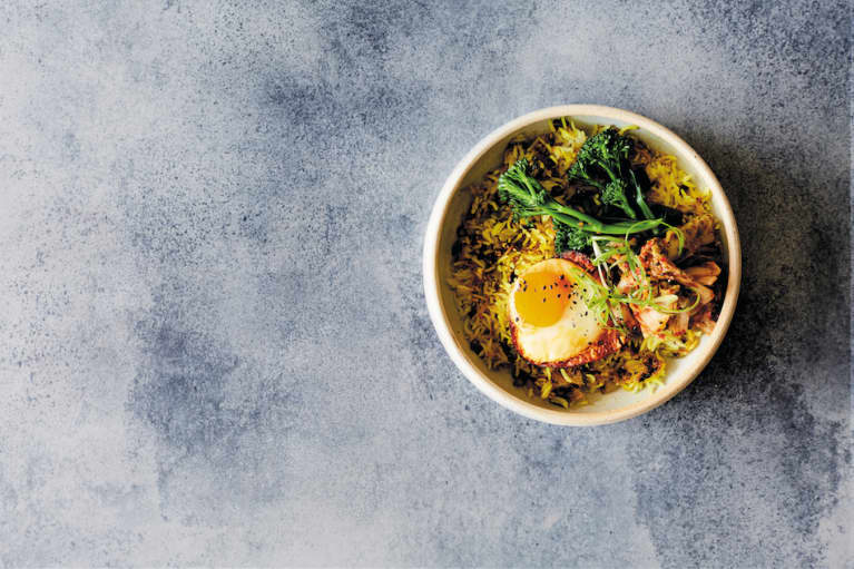 Anti-Inflammatory Breakfast: Ginger + Turmeric Rice Bowl With Kimchi