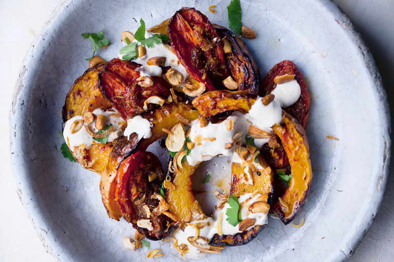 Butternut Squash With Ginger Tomatoes + Lime Yogurt