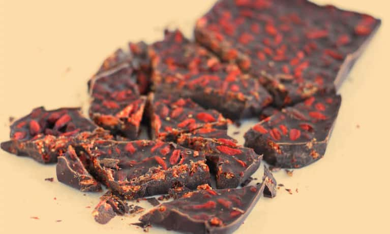 4-Ingredient Carob + Goji Berry Bark