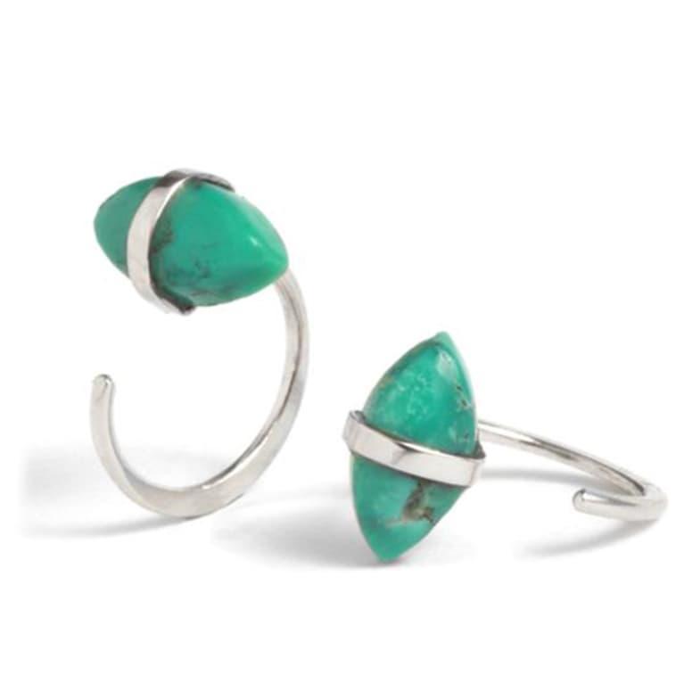 turquoise and silver hoop earrings
