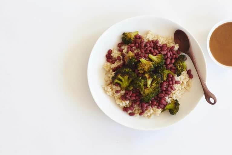 Charred Miso Broccoli + Adzuki Bean Bowl