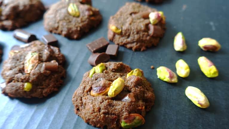 Gluten-Free + Vegan Double-Chocolate Pistachio Cookies