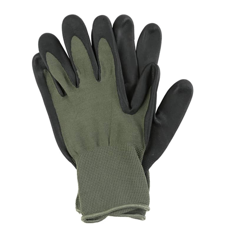 dark green gardening gloves