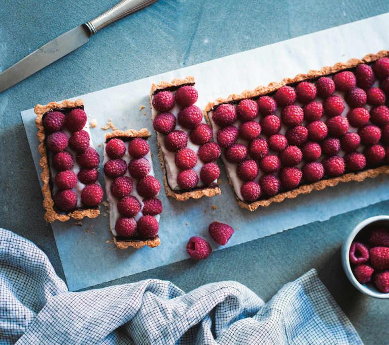 A Decadent Coconut Cream + Raspberry Tart —That Happens To Be Vegan