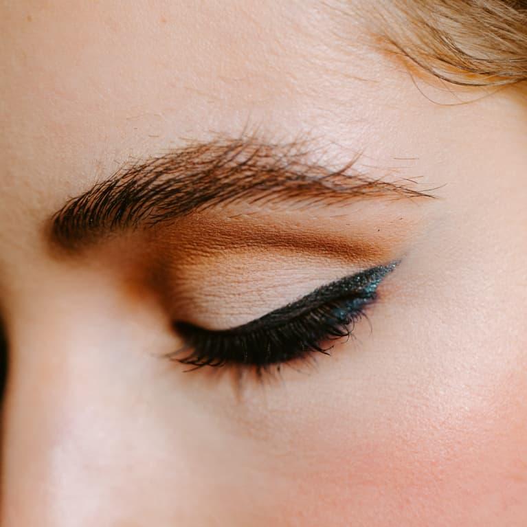 Cut crease eyeshadow with eyeliner