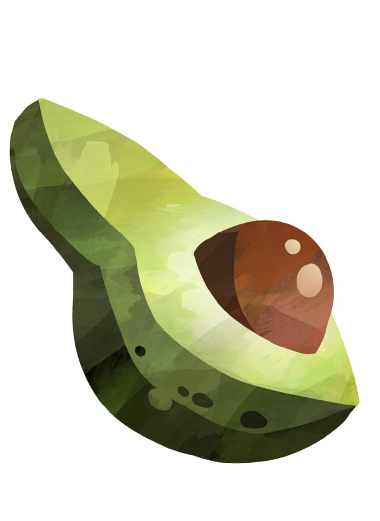 illustration of avocado cut lengthwise