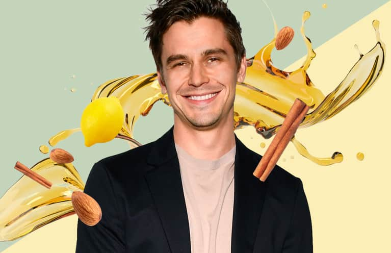 Antoni Porowski with a collage of ingredients used in healthy cooking