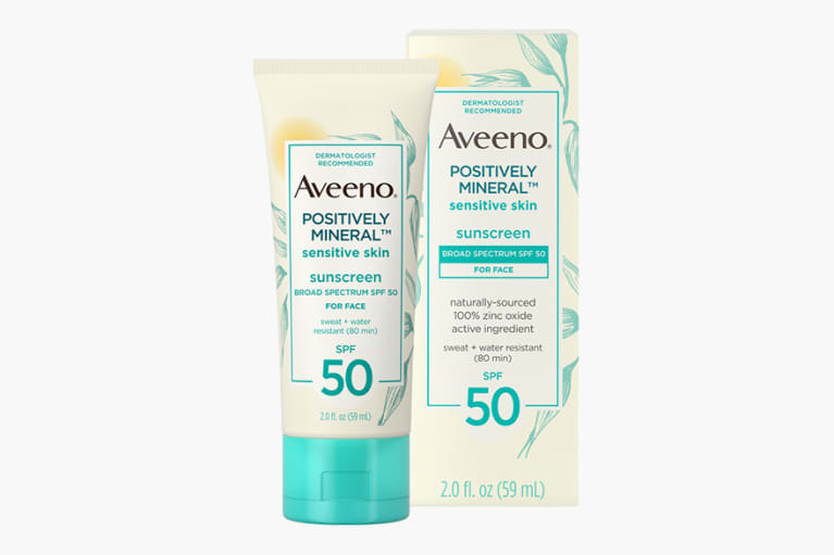 <p>Aveeno Positively Mineral Sensitive Skin Sunscreen Lotion SPF 50</p><p><br></p>
