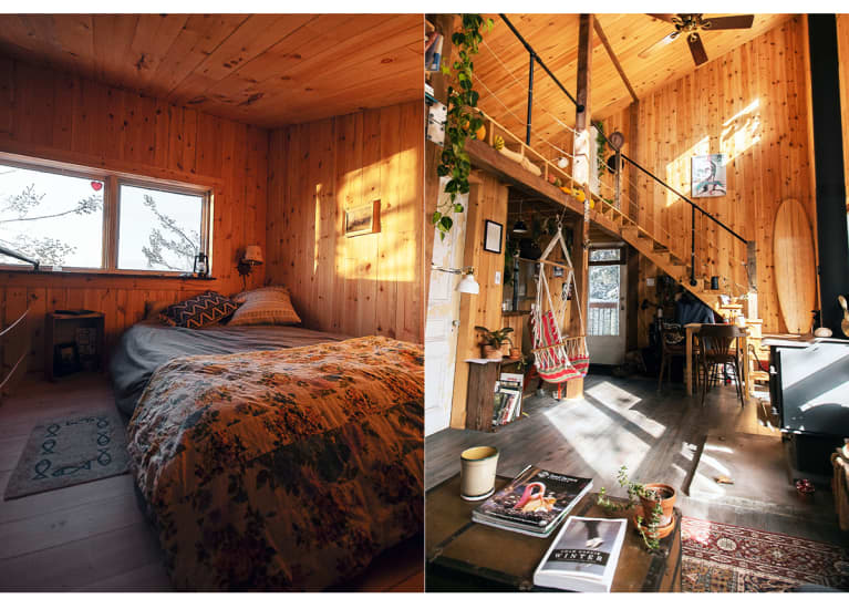 cozy cabin bedroom and living room