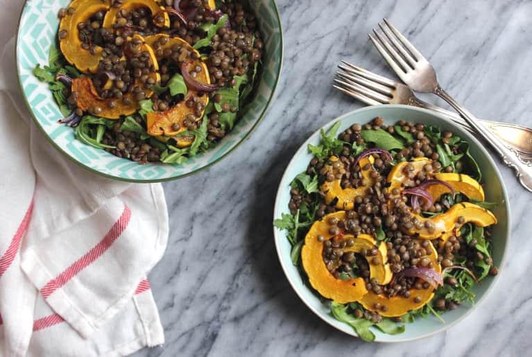 A Make-Ahead Lentil + Delicata Squash Salad