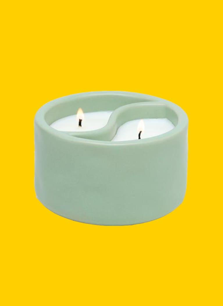 Paddywax green candle shaped like yin and yang symbol