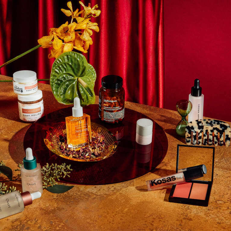 beauty gifts on a table