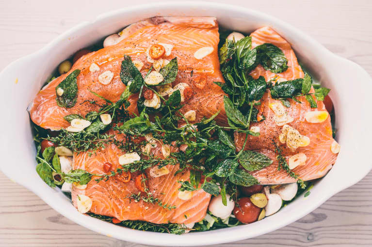 Mediterranean diet with salmon, herbs and vegetables