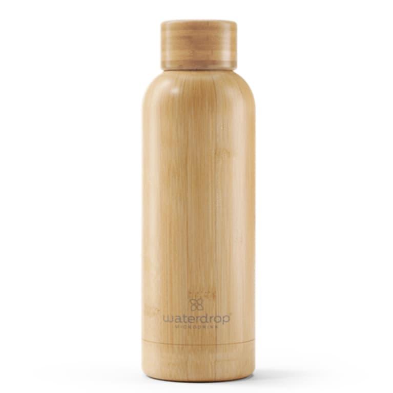 insulated water bottle in wood pattern