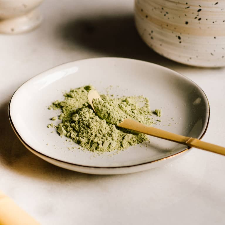 Green Powder on a Small Plate