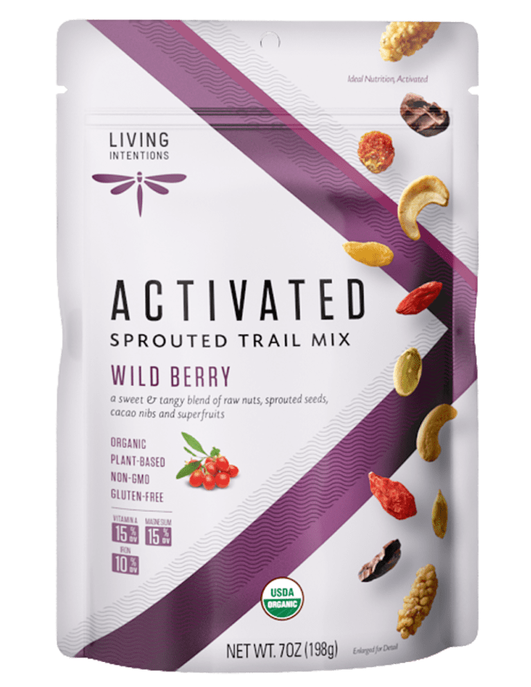 Trail mix packaging with a purple V going through the front, mix of different nuts and dried fruits pictured on the front.