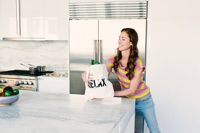 Tara Stiles shows how to do a workout with what you have, groceries