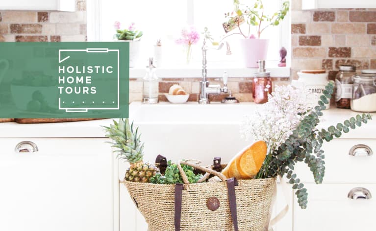 bright kitchen with bag full of fresh produce