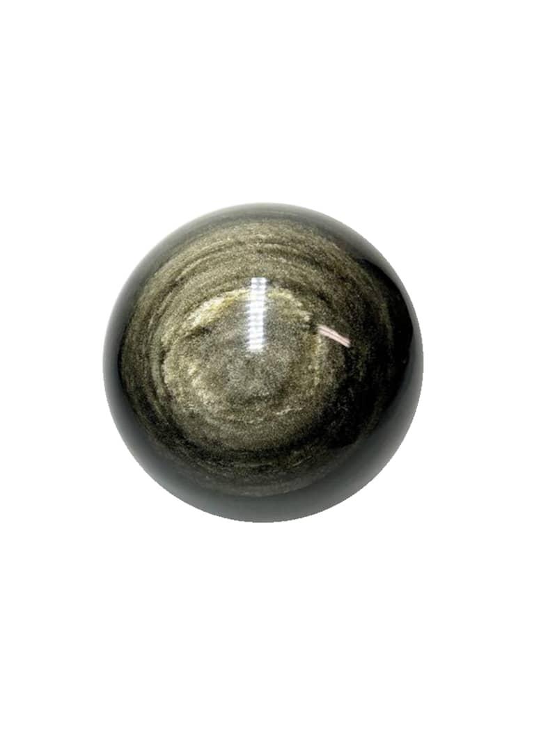 Golden Sheen Obsidian Sphere crystal on white background