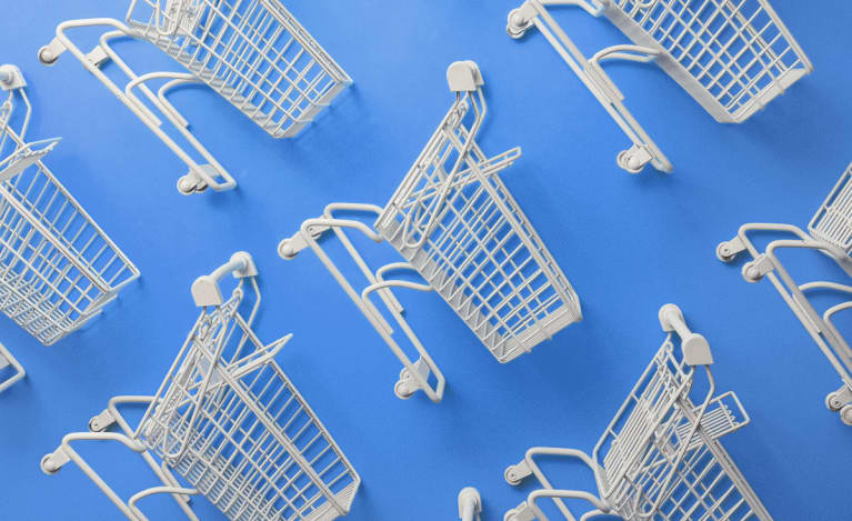 Shopping Carts on a Blue Background